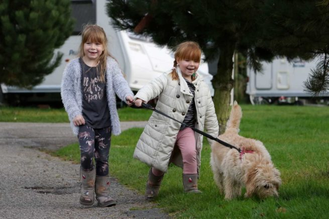 children-walking-dog-facilities-touring-camping