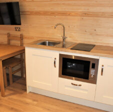 Cedar Glamping Pod Kitchen